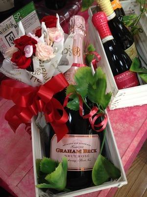 プリザーブドフラワー&スパークリングワイン 5000円
