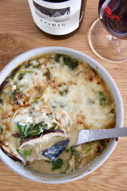 鰆と菜の花の味噌クリームグラタン