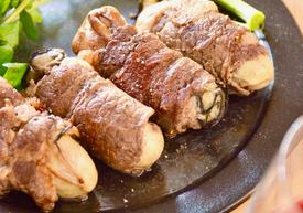 牡蠣の牛肉巻き  オリーブ風味