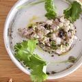 アジの梅たたき パクチー&オリーブ風味