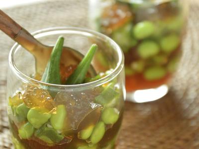 枝豆とオクラのポン酢ジュレがけ