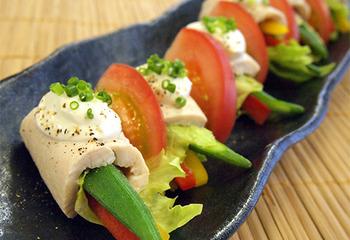 【ワインに合う低カロレシピ】夏野菜のささみ巻き~柚味噌ヨーグルトかけ~