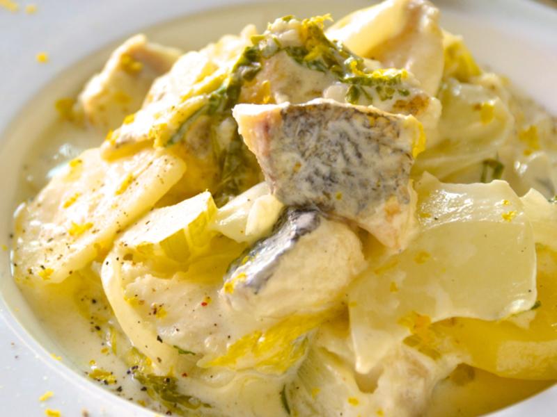 鱈と白菜とネギの柚子クリーム煮