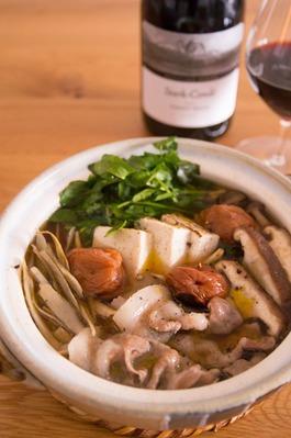 豚肉とごぼうの梅鍋