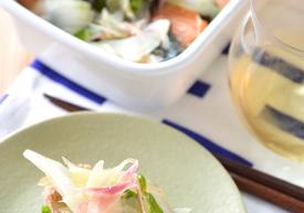 セロリとミョウガたっぷり  焼き鮭のマリネ