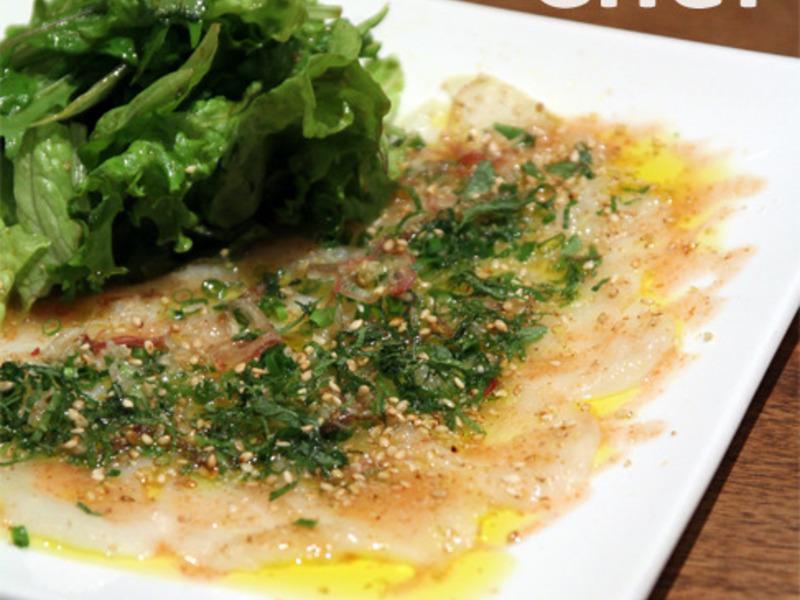 白身魚の和風仕立て梅ソースカルパッチョ