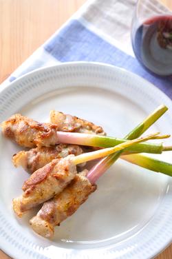 葉生姜の肉巻き焼き