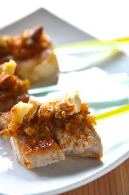 豚肉と「柚子味噌ディップ」のピンチョス