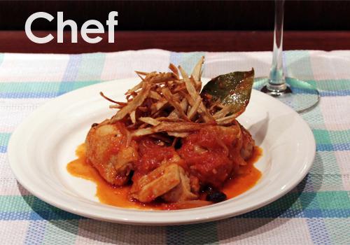 鶏もも肉と牛蒡のトマト煮込み