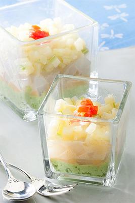 【少々夏バテ… 食欲よみがえりレシピ!】枝豆ペーストと黄身酢のグラス仕立て