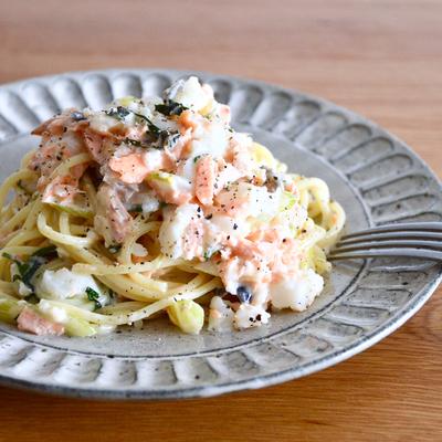 塩鮭と長芋のゆずクリームスパゲッティ