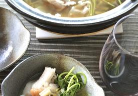 豚しゃぶ肉と三つ葉のあっさり梅生姜鍋