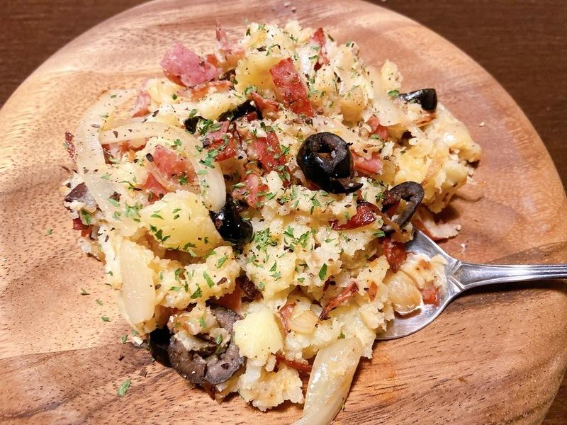 サラミとニンニクの洋風ポテトサラダ