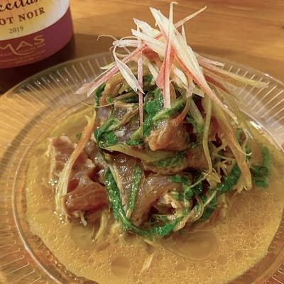 カツオのたたきの中華風マリネ