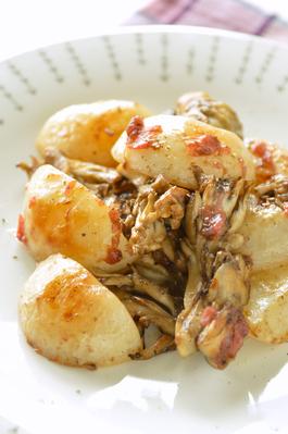 カブと舞茸の梅バターソテー