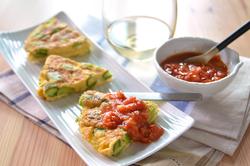 緑野菜のオムレツ ミニトマトのソース